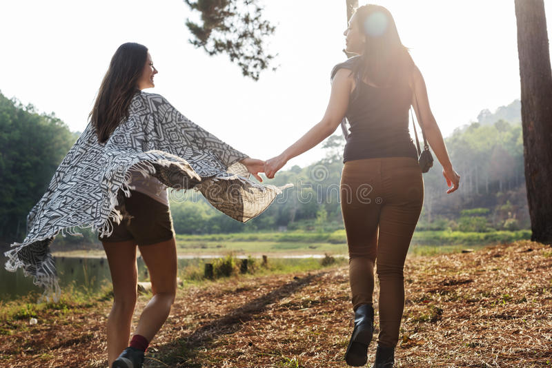 Girls Friends Exploring Outdoors Nature Concept royalty free stock images