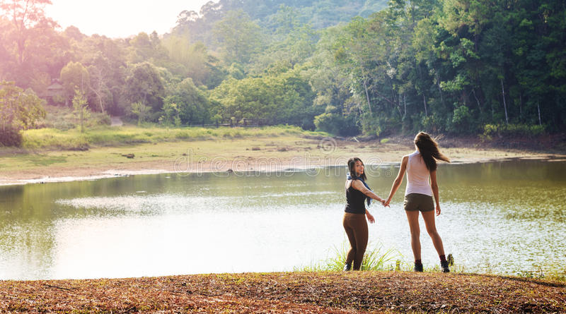 Girls Friends Exploring Outdoors Nature royalty free stock image