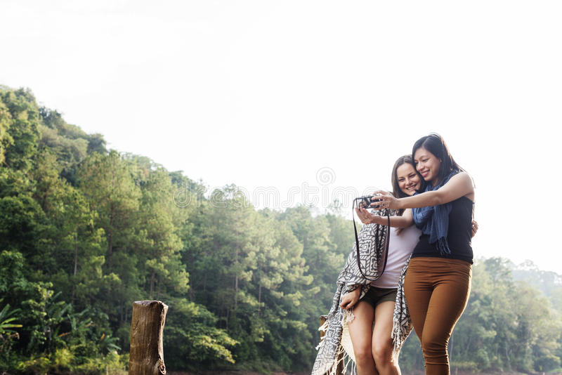 Girls Friends Exploring Outdoors Nature Concept royalty free stock photos