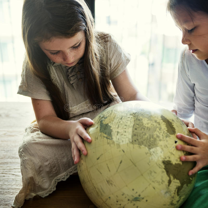 Girls Friends Globe Geography Concept stock photography