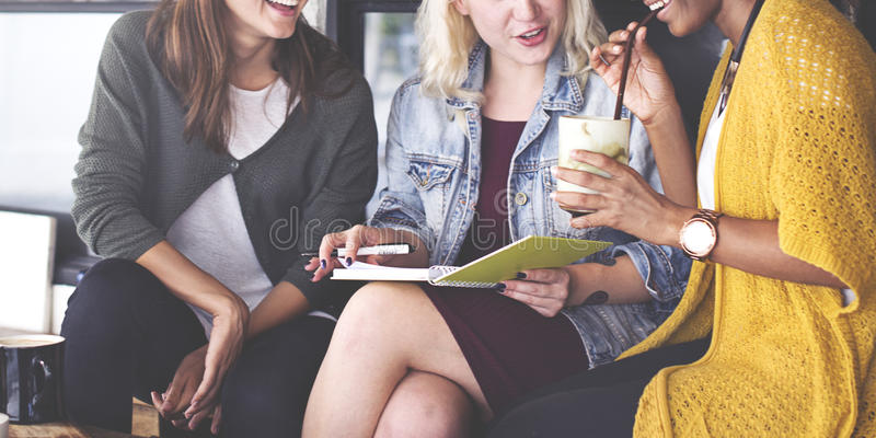 Girls Friends Talking Smiling Outdoors Concept royalty free stock image