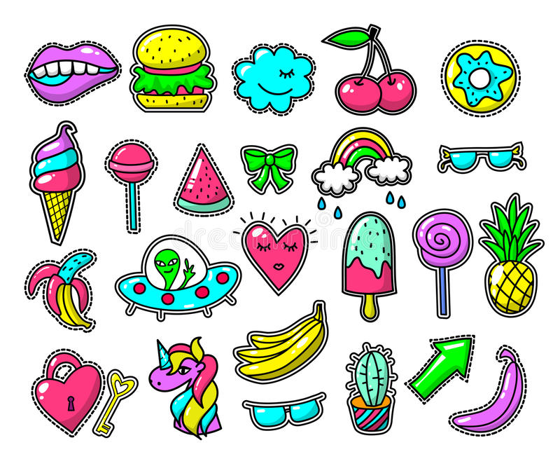 Download Girls Fun Applique Patches Cool Vector Doodles Girl 80s Style Labels On White Background