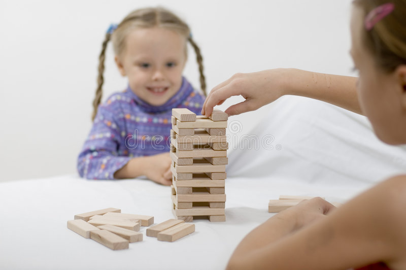Girls / Game / White Stock Photography