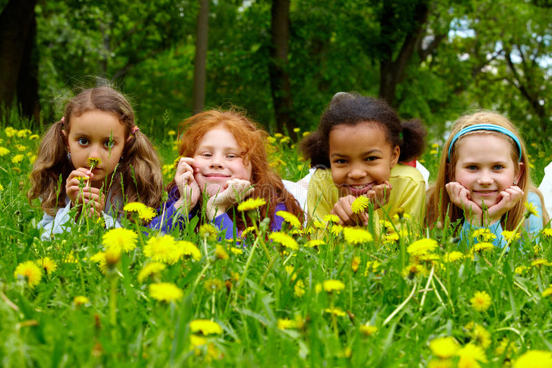 Download Girls in grass stock image. Image of nature, funny, looking - 14861031