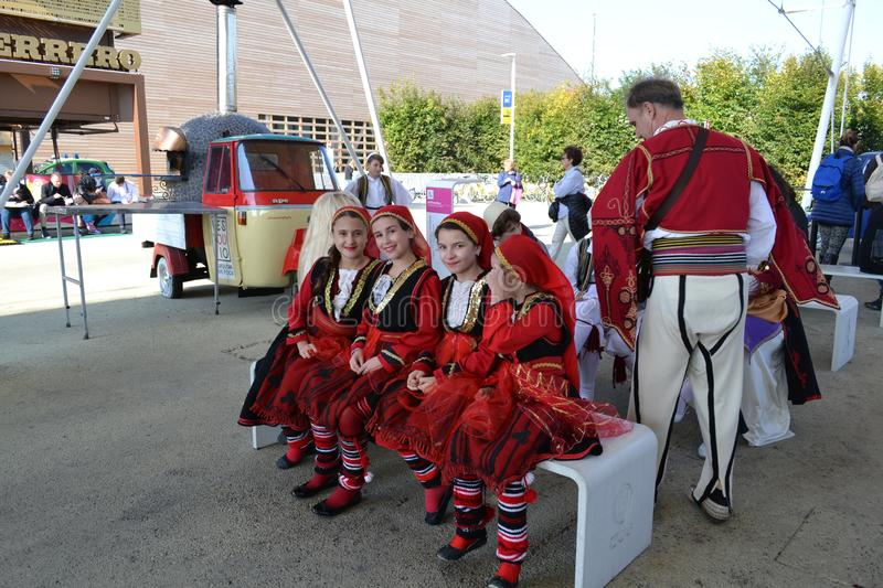 Girls in Greek traditional folklore female national costumes. royalty free stock photography