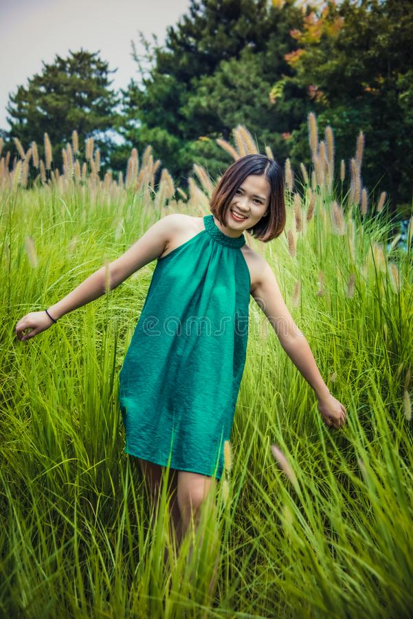 Girls in Green Skirts,Green bristlegrass royalty free stock photo