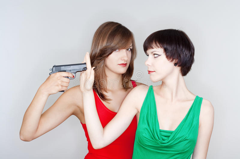 Girls With A Gun Stock Image