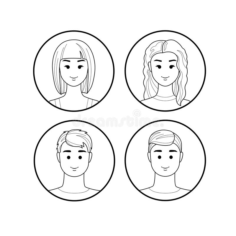 Girls and guys avatar lines. Faces of girls and guys on the avatar flat lines stock illustration