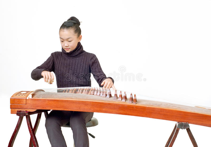 Girls(Guzheng performance) royalty free stock images