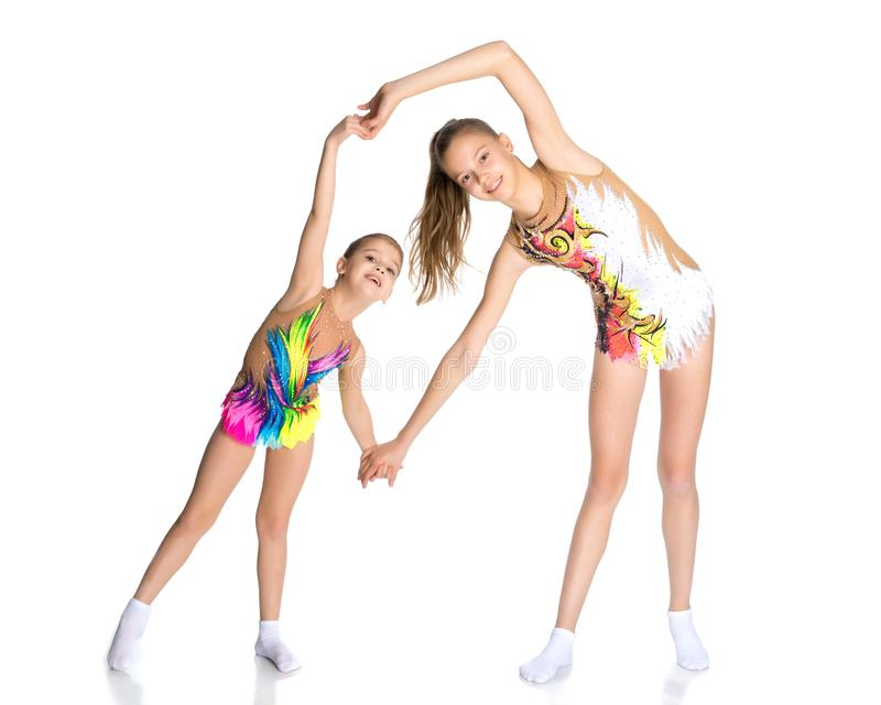 Girls gymnasts warm up. royalty free stock photos