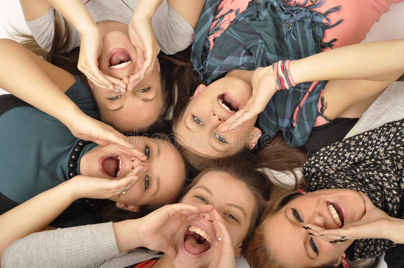 Girls are happy in the school royalty free stock images