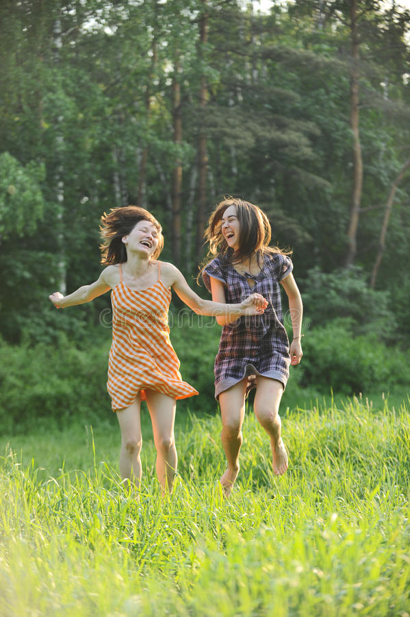 Download Girls have fun stock image. Image of forest, enthusiasm - 19733365