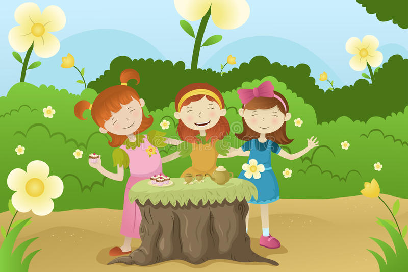 Girls having a garden party royalty free illustration