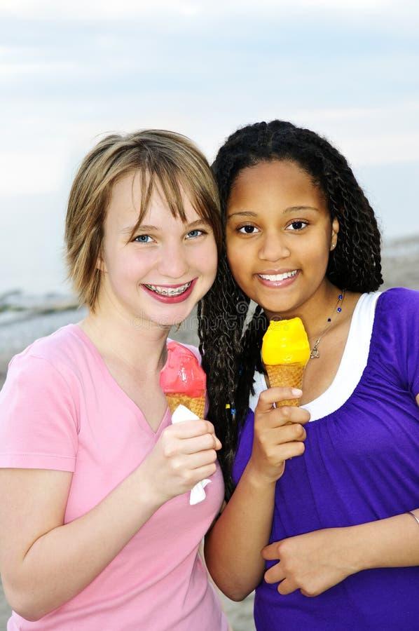 Girls having ice cream stock photo