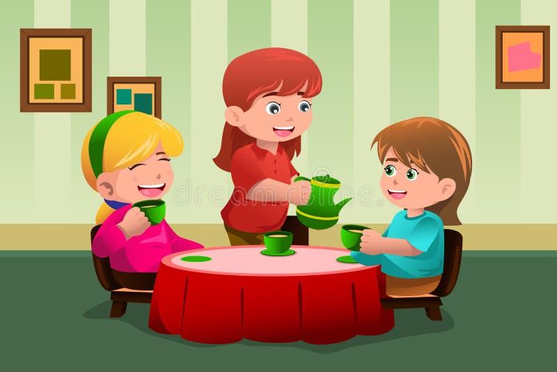 Girls having a tea party stock illustration
