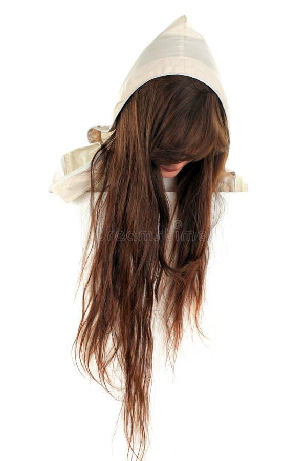 Girls head with long hair stock photos
