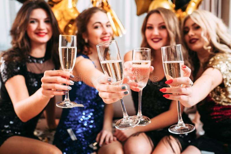 Girls hen party champagne glasses congratulations stock image