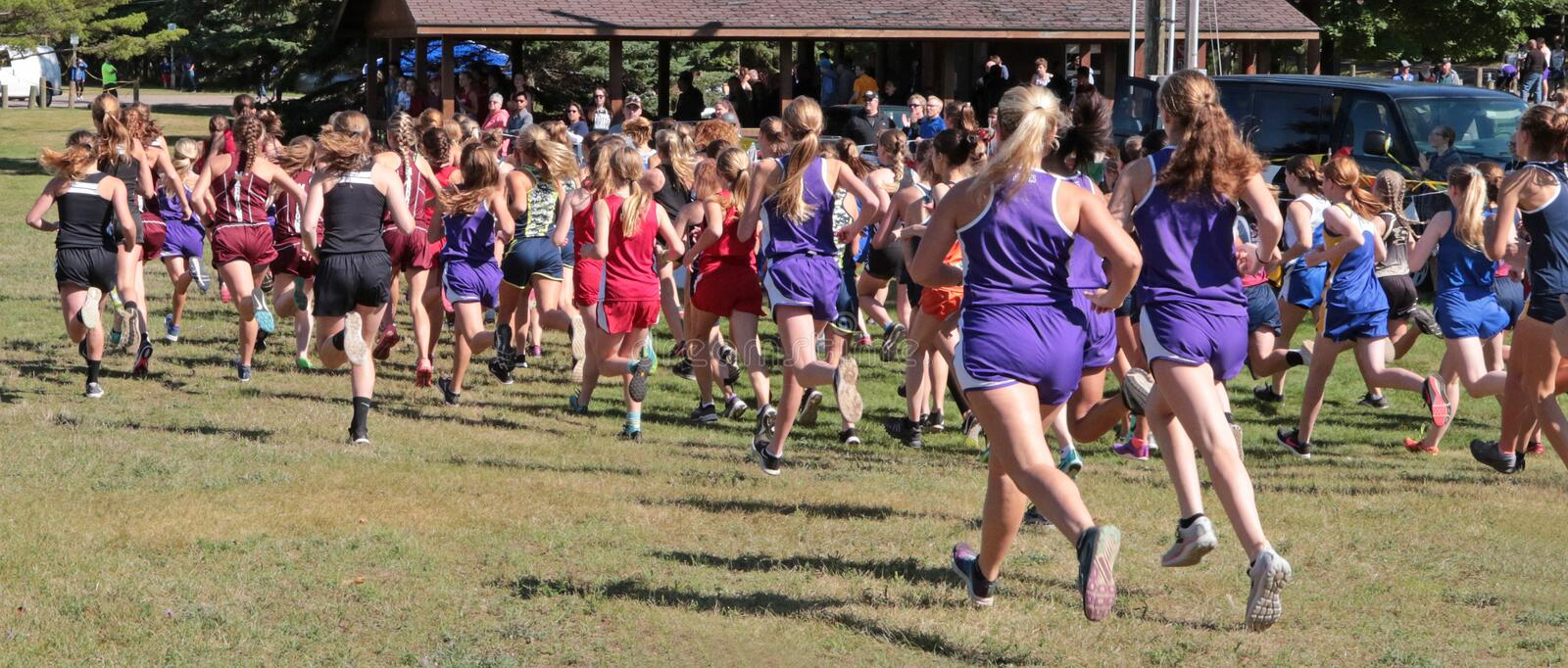 GIRLS High School Cross Country Race. At Marquette, Michigan, USA royalty free stock image