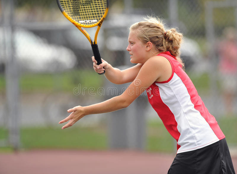 Girls High School Tennis. LITITZ, PA - SEPTEMBER 27: Unnamed girl's tennis player from Warwick High School follows through on her swing during a match against stock images