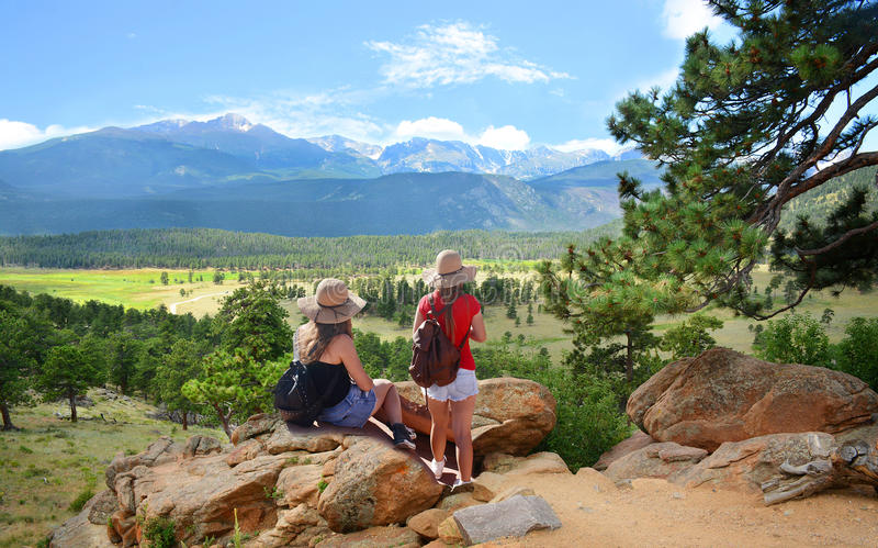 Girls hiking in the mountains. stock images