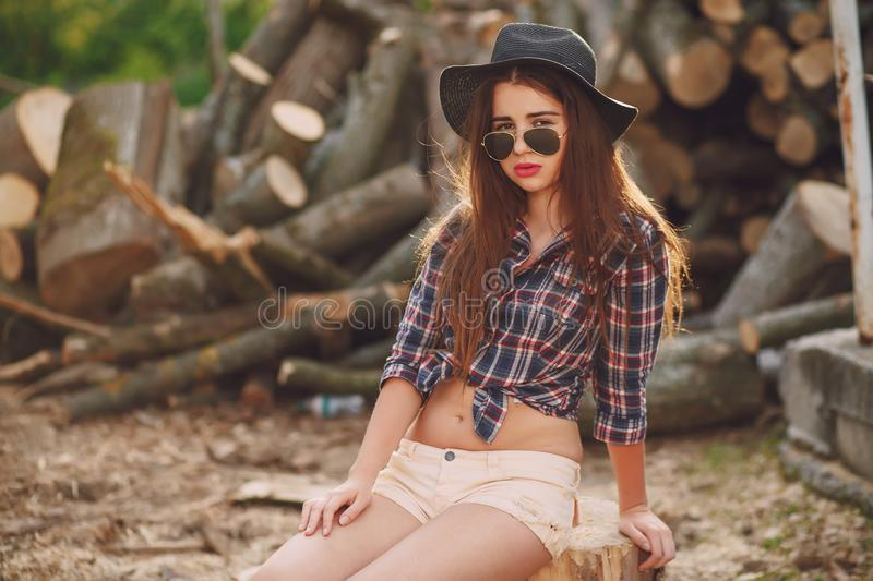 Girls with horses stock photography