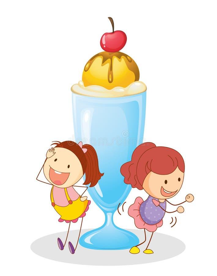 Girls and ice cream vector illustration