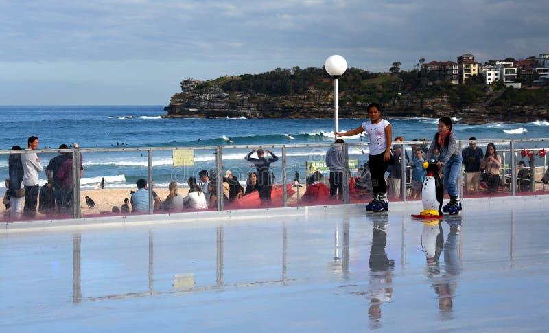 Girls ice skating on Bondi ice rink. Sydney, Australia - Jul 17, 2016. Girls ice skating on Bondi ice rink. Australia's only beachside ice rink is on Bondi royalty free stock images