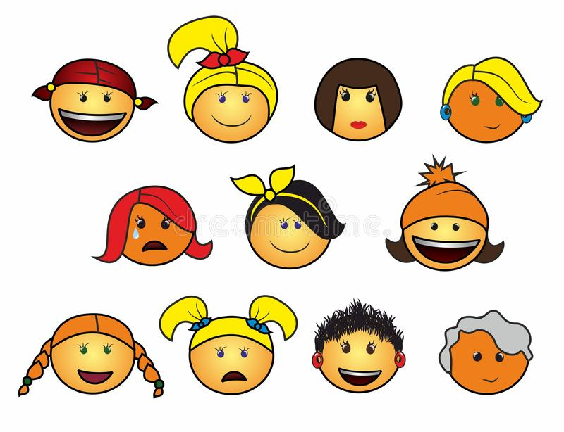Girls icon. Eleven different cheerful smiles on stock illustration