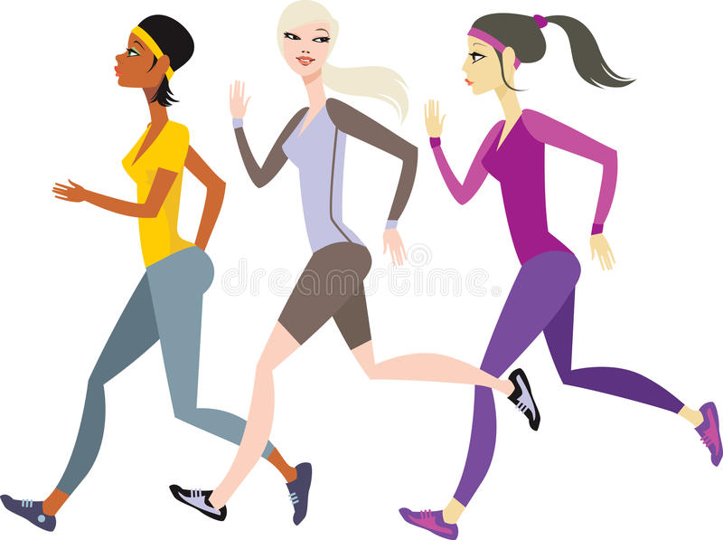 Download Girls jogging stock vector. Image of isolated, caucasian - 16122412
