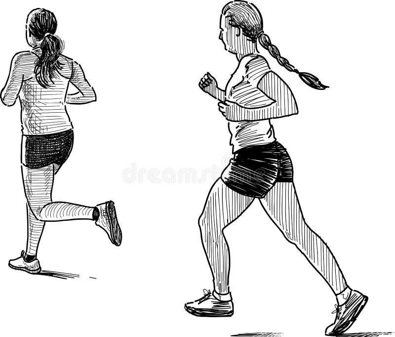 Girls jogging vector illustration