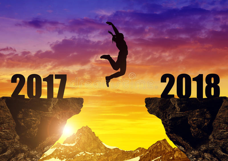 Download Girls Jump To The New Year 2018 Stock Image - Image of courage, country: 87512915