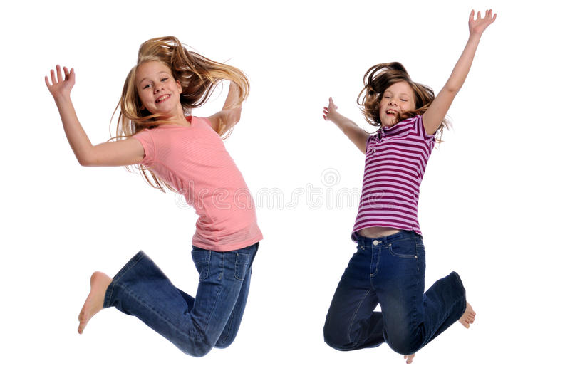 Girls jumping stock images