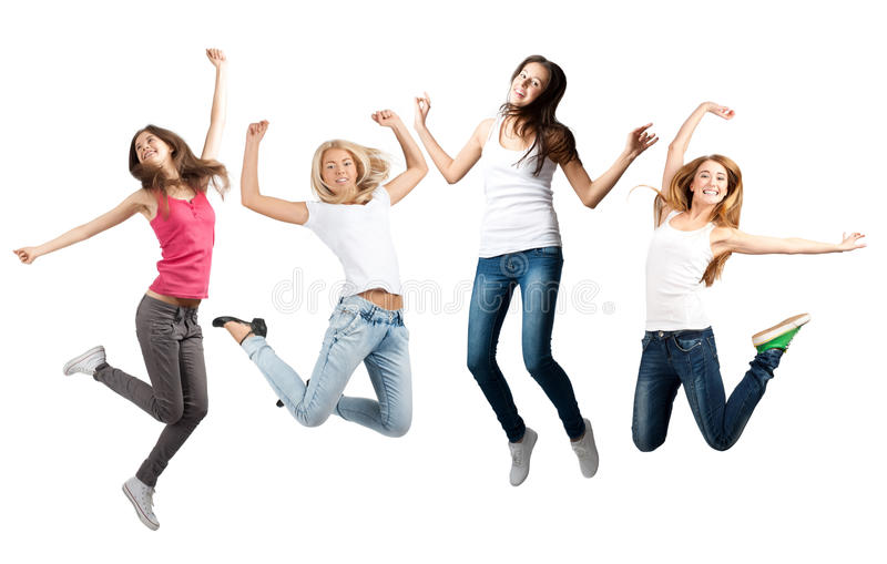 Download Girls  jumping in air stock image. Image of achievement - 21957263