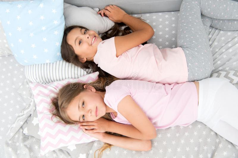 Girls just want to have fun. Invite friend for sleepover. Best friends forever. Consider theme slumber party. Slumber. Party timeless childhood tradition. Girls royalty free stock photo
