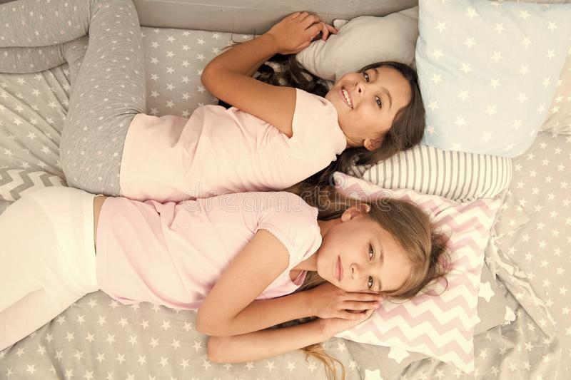Girls just want to have fun. Invite friend for sleepover. Best friends forever. Consider theme slumber party. Slumber. Party timeless childhood tradition. Girls royalty free stock photography