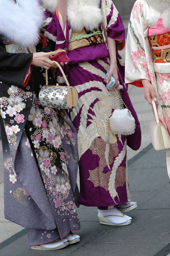 Girls in kimono royalty free stock image