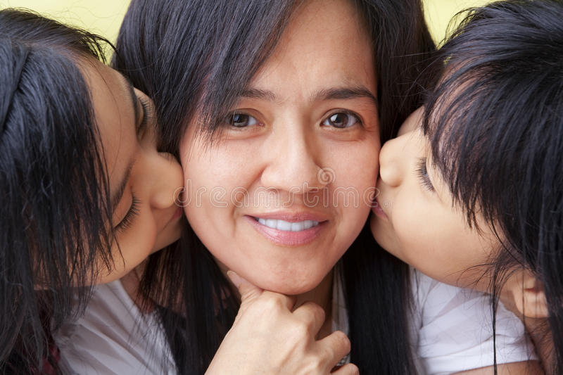 Girls Kissing Their Mother Stock Photo Image Of Kids -7961