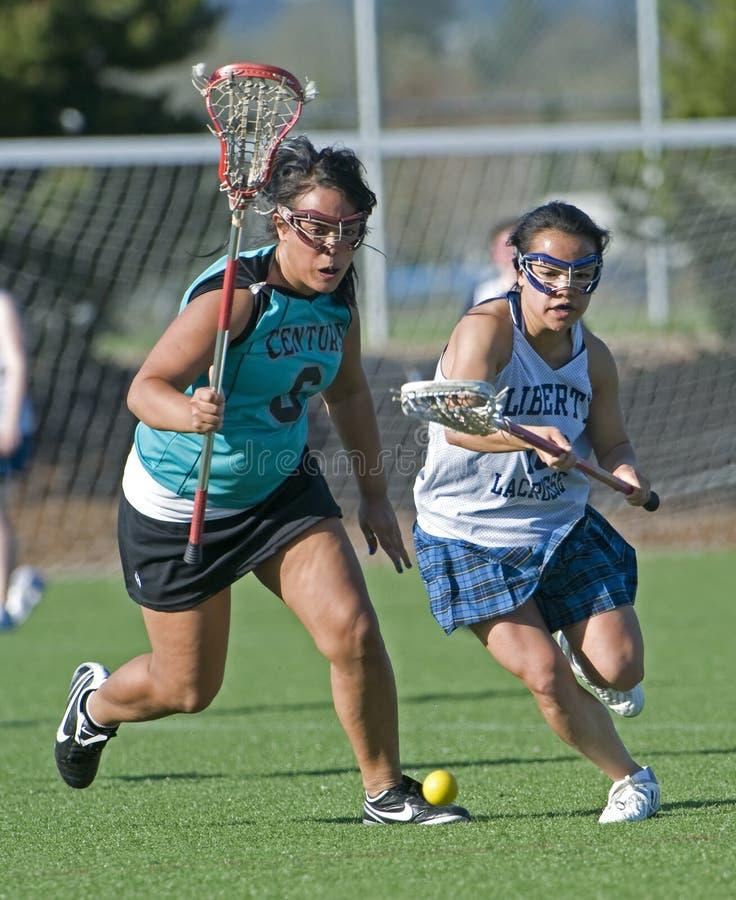 Girls Lacrosse ground ball royalty free stock photos