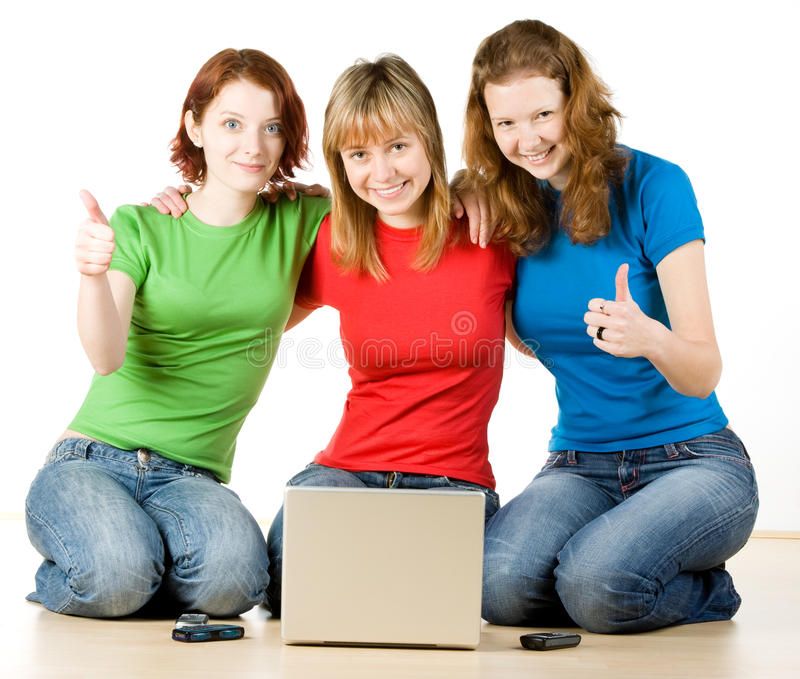 Download Girls with a laptop stock image. Image of blond, girls - 9888229