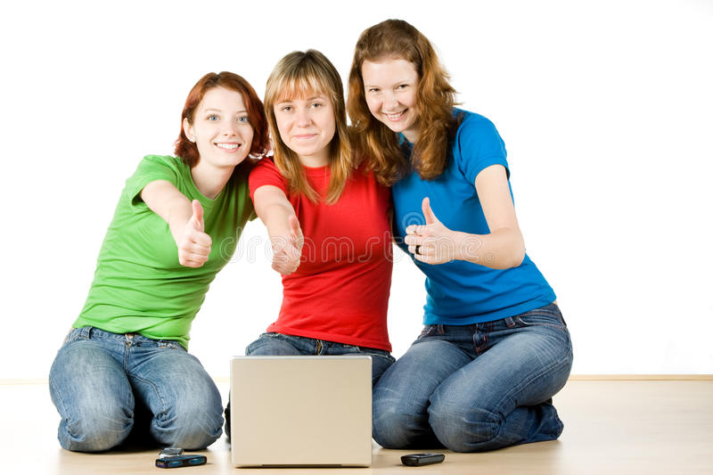 Girls With A Laptop Royalty Free Stock Photos