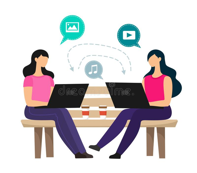Girls with laptops are sitting on a bench and doing media sharing. Vector characters on a white background. Girls with laptops are sitting on a bench and doing vector illustration