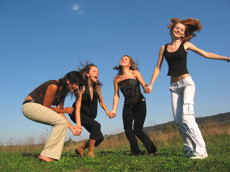 Girls laughing royalty free stock photo