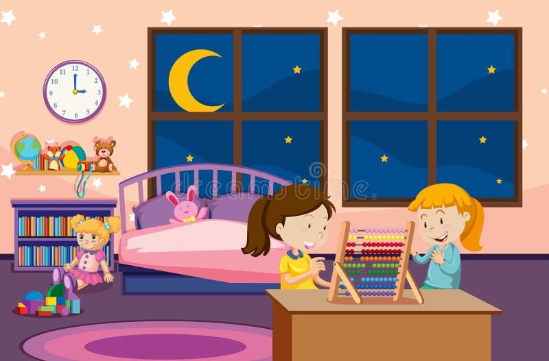 Girls learning abacus in bedroom. Illustration stock illustration