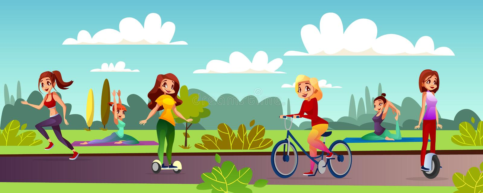 Girls leisure in park vector illustration. Girls leisure vector illustration of young women recreation in outdoor park. Cartoon teen characters jogging, making stock illustration