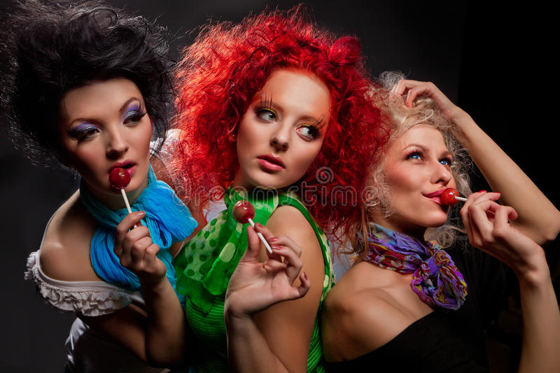 Girls With Lollipops Stock Photos