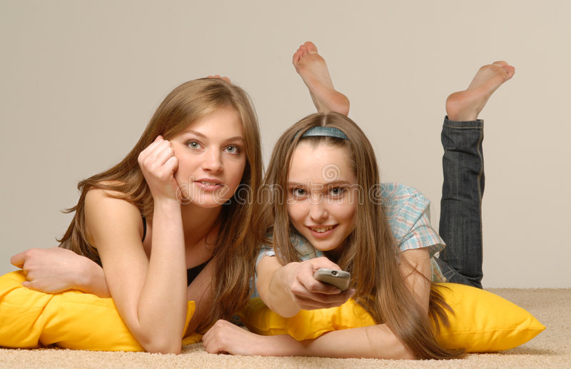 Girls look cinema royalty free stock photos