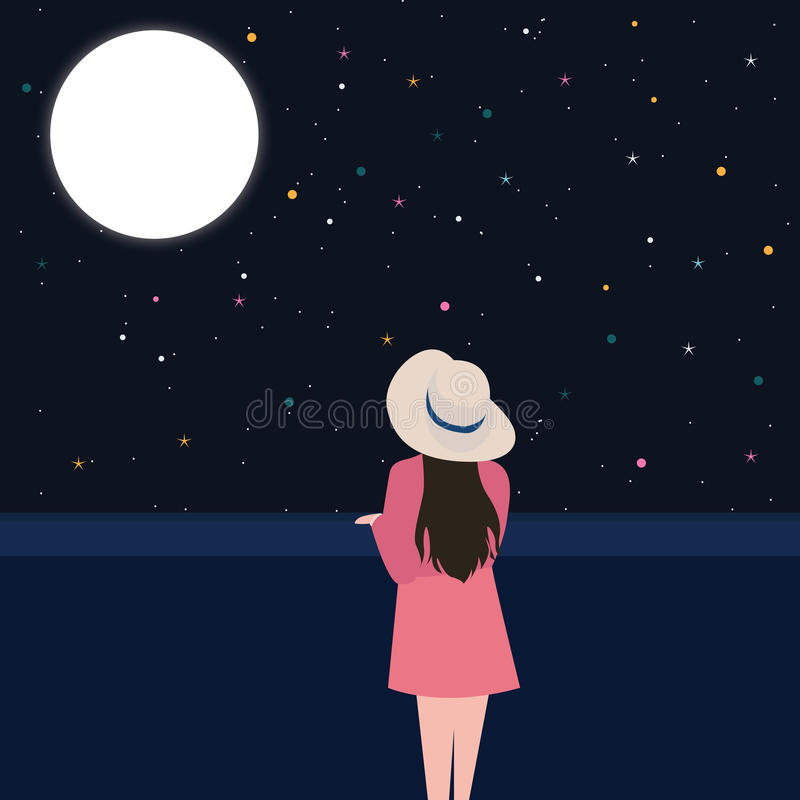 Girls looking starring at the night sky alone - Cartoon girl sitting alone ...