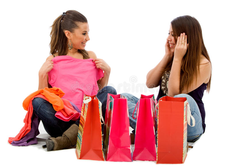 Download Girls Looking At Their Purchases Stock Image - Image: 12835819