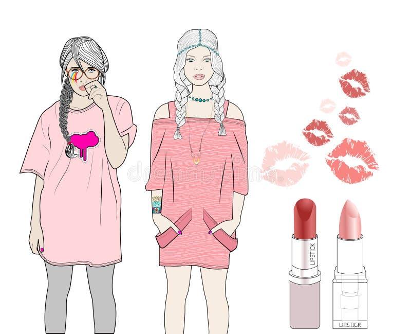 Download Girls love pink stock illustration. Illustration of shirt - 24636524