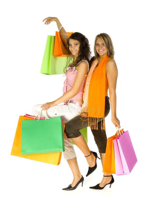 Girls love shopping stock images